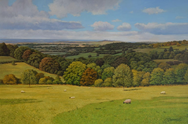 A large classical original English landscape realism oil painting is suitable as a focal point in a room. The panoramic, dramatic and iconic view across a Cotswold landscape and beyond to the distant Meon Hill. Sheep are grazing in the foreground. I