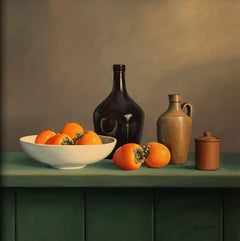 PERSIMMONS, Painting, Oil on MDF Panel