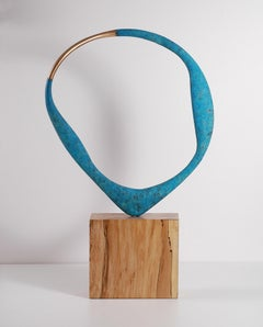 Acanto II by Philip Hearsey - Circle Blue Bronze sculpture on beech wood base