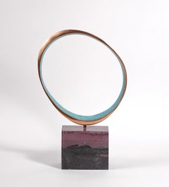 Always by Philip Hearsey- Oxidized Blue and Gold Bronze sculpture on slate base