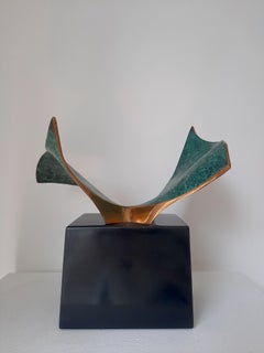 Dance - metal unique from a vessel table top bronze sculpture abstract