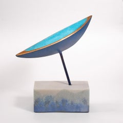 Discovery X by Philip Hearsey Blue, Gold Bronze sculpture above a composite base