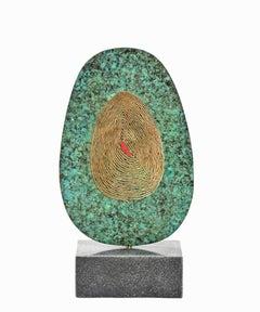 Kenidjack Castle VI by Philip Hearsey Bronze sculpture on rotating slate base