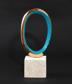 Narration IV by Philip Hearsey Oxidized Blue Gold Bronze sculpture on slate base