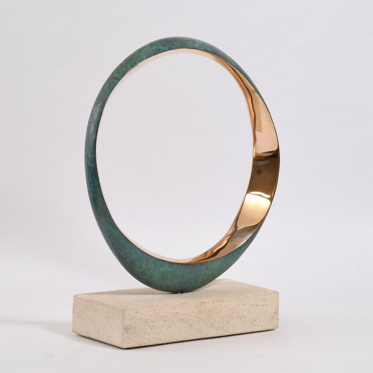 Year 2019 40 high x 30 x 12 cm Bronze rotating on a Bath stone base. Stamped with monogram signature and uniquely numbered 543, 1/9 Series of 9 variations. The inner edges are highly polished natural bronze that will require care as they will colour