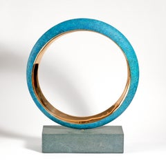 Orbit by Philip Hearsey- Oxidized Blue and Gold Bronze sculpture on slate base