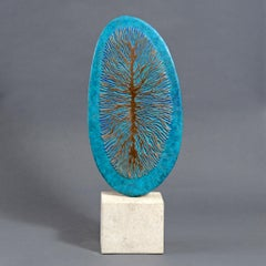 Probability by Philip Hearsey Oxidized Blue Gold Bronze sculpture on slate base