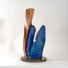 Shayno II by Philip Hearsey Oxidized Blue Gold Bronze sculpture on slate base