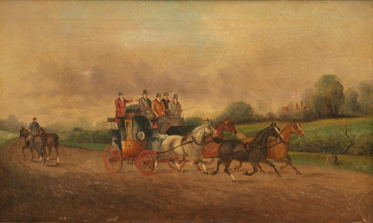 Philip Henry Rideout stage and four horses oil on canvas, 1893, signed 'Phil H. Rideout' and dated lower right. Measures: 12 x 20 in., 15 x 23 in. (frame).  Phillip Henry Rideout worked in the late 19th and early 20th century in England, always