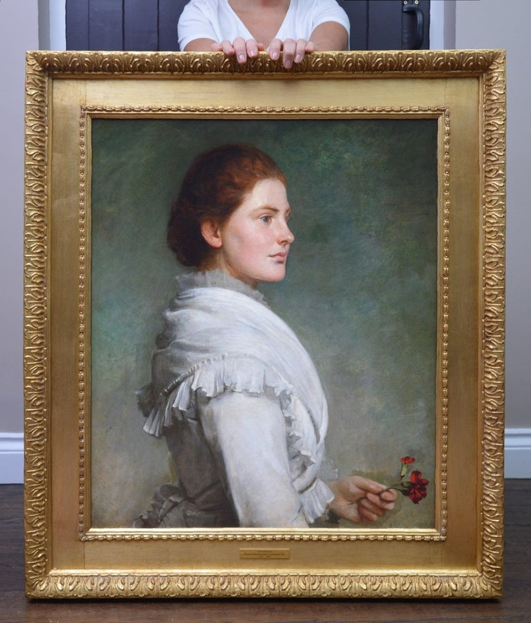 Carnations - Large 19th Century Oil Painting Portrait - Brown Portrait Painting by Philip Hermogenes Calderon R.A.
