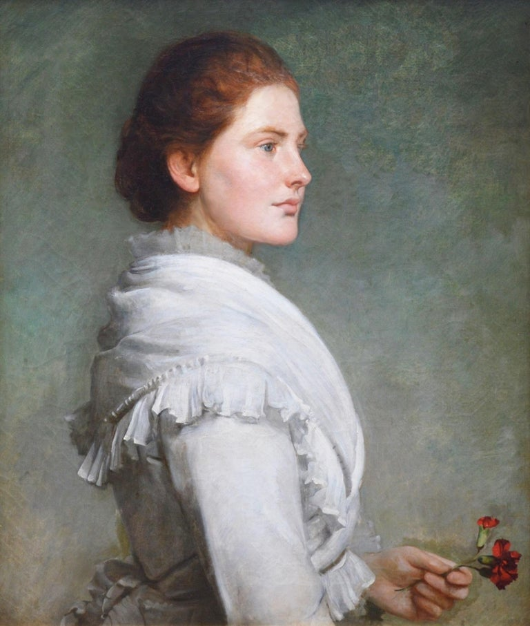 'Carnations' by Philip Hermogenes Calderon R.A. (1833-1898). The painting is signed and inscribed by the artist verso, and hangs in a superb quality gold metal leaf Watts frame.   As with all of the original antique oil paintings we sell it is