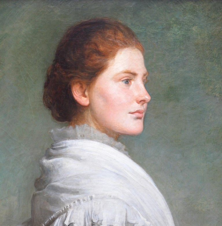 Carnations - Large 19th Century Oil Painting Portrait For Sale 2