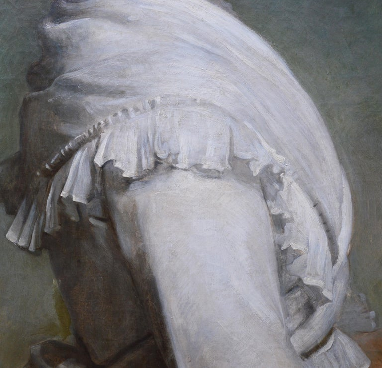 Carnations - Large 19th Century Oil Painting Portrait For Sale 3