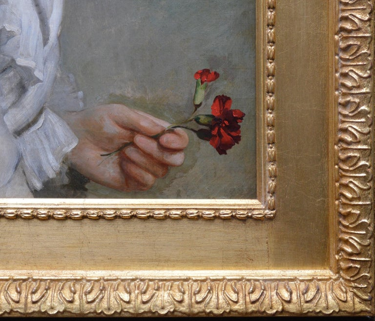 Carnations - Large 19th Century Oil Painting Portrait For Sale 5