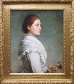 Carnations - Large 19th Century Oil Painting Portrait