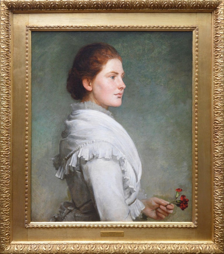 Philip Hermogenes Calderon R.A. Portrait Painting - Carnations - Large 19th Century Oil Painting Portrait