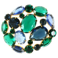 Philip Hulitar Jeweled Crystal Brooch