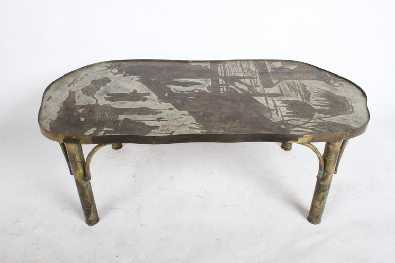 """Philip & Kelvin LaVerne Chan 140 coffee table with Chinese scene in patinated bronze and pewter with hand-applied enamel by Philip & Kelvin, American 1960's. Signed """"Philip & Kelvin LaVerne"""". This table has a beautiful patina, having original"""