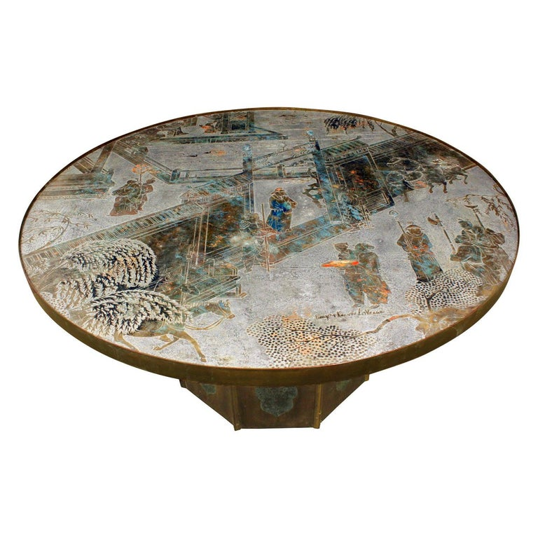 """Philip & Kelvin Laverne """"Chan #142 Coffee Table"""" 1960s 'Signed' For Sale"""