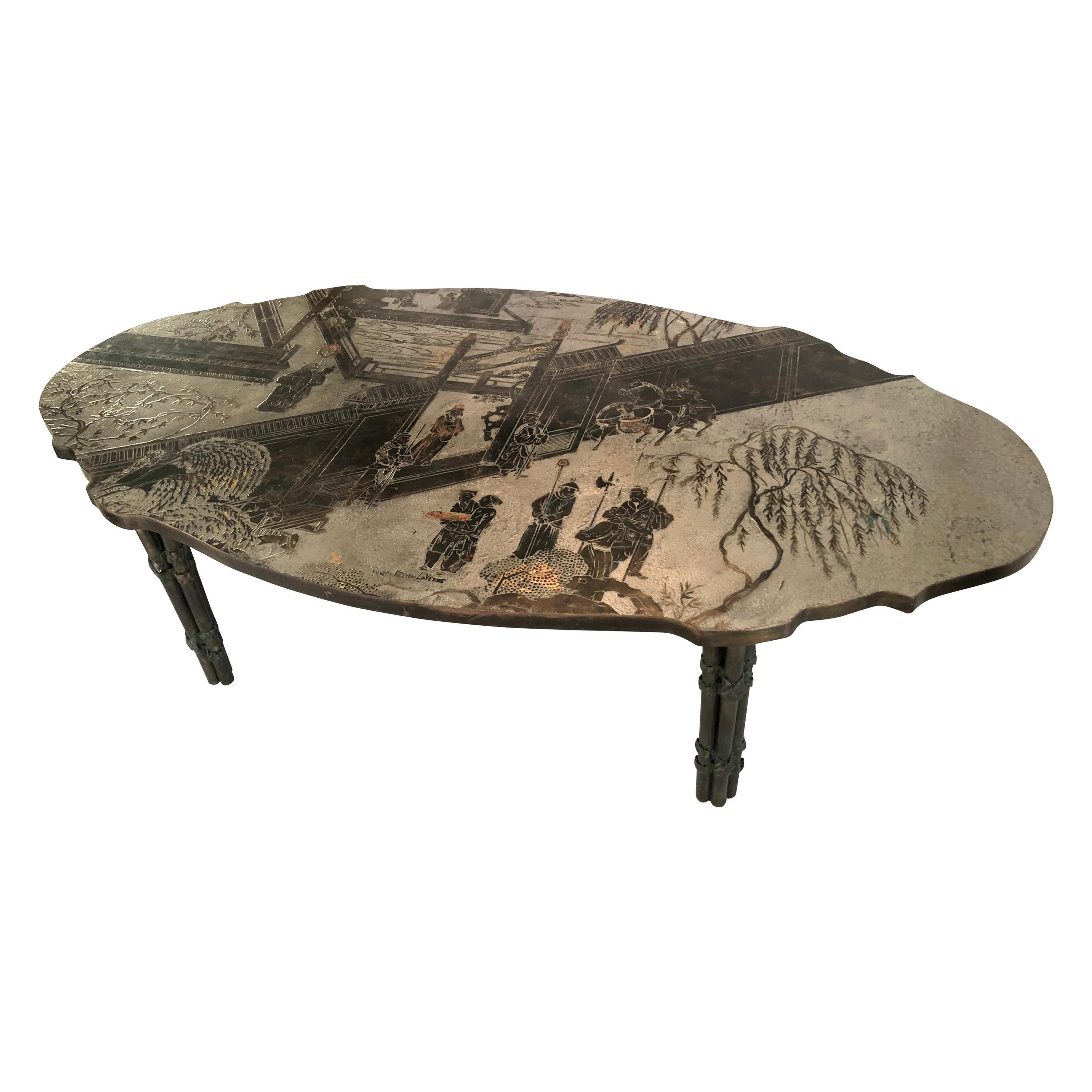 """Philip and Kelvin LaVerne """"Chan"""" Etched Bronze Coffee Table"""