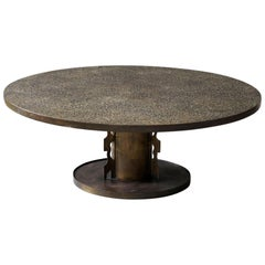 Philip & Kelvin LaVerne, Etruscan Coffee Table Acid-Etched Pewter, Bronze, 1960s