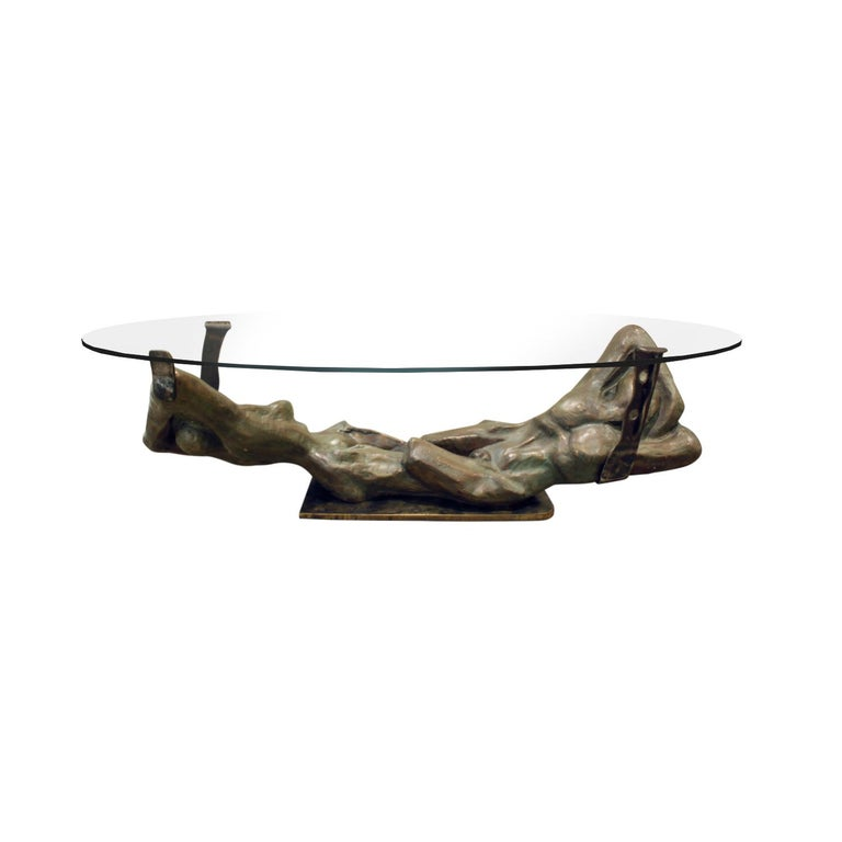Philip & Kelvin LaVerne Important Cast Bronze Coffee Table, 1970s, Signed For Sale
