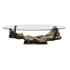 "Philip & Kelvin LaVerne Important Cast Bronze Coffee Table ""Fluidity"" 1970s"