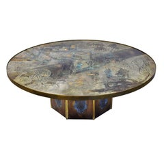 """Philip & Kelvin LaVerne Large """"Chan #142"""" Coffee Table 1960s 'Signed'"""