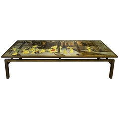"""Philip & Kelvin LaVerne Large """"Chin Ying"""" Coffee Table 1960s 'Signed'"""