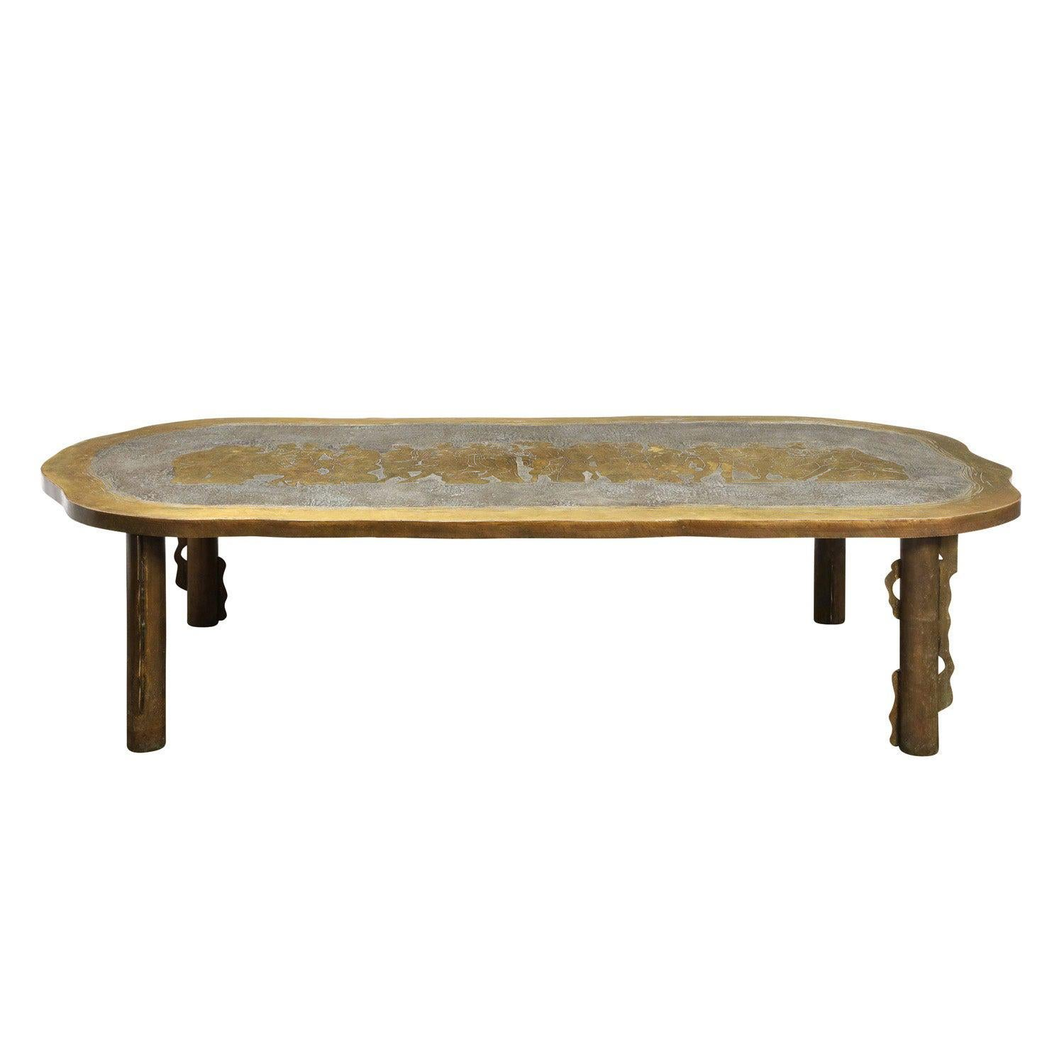 """Philip & Kelvin LaVerne Large """"Romanesque"""" Coffee Table 1960s 'Signed'"""