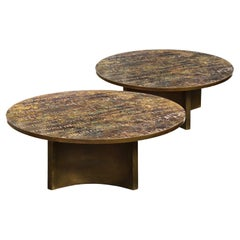"""Philip & Kelvin LaVerne Pair of """"Eternal Forest"""" Coffee Tables 1960s 'Signed'"""