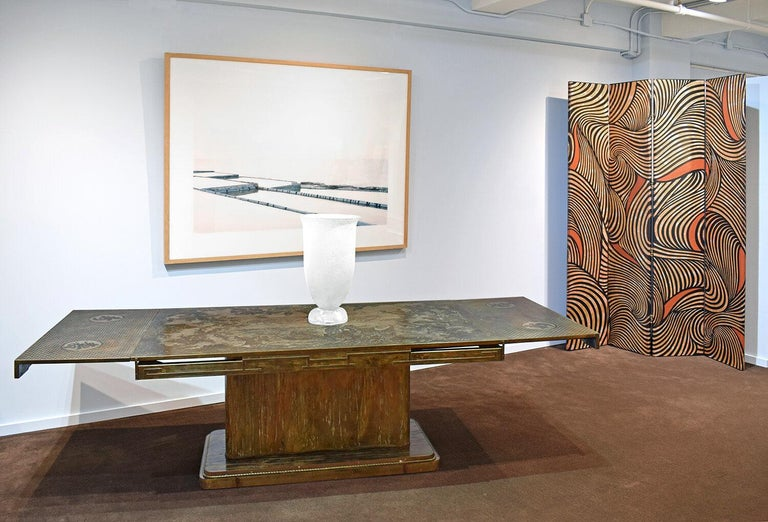 Philip & Kelvin LaVerne Rare and Important Extension Dining Table 1960s (Signed) For Sale 7