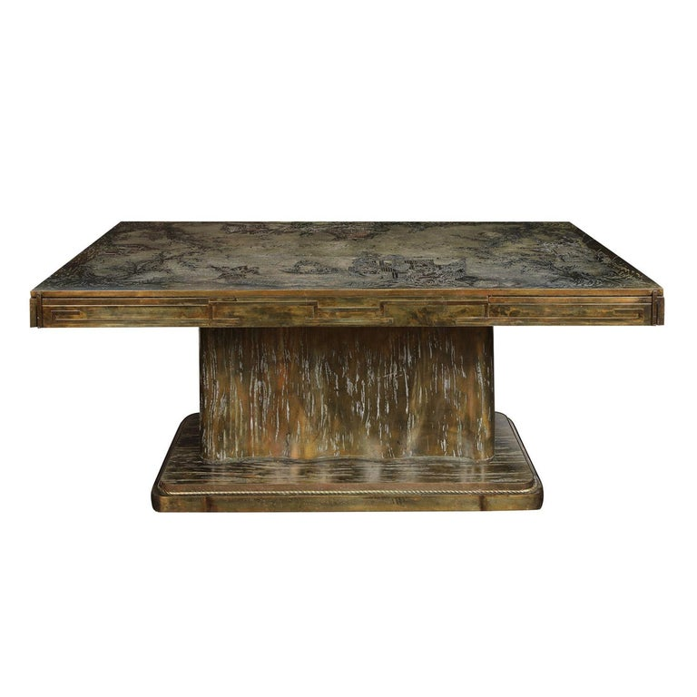 """Rare and Important """"K'ang Hsi"""" extension table in etched and patinated pewter and bronze with hand-painted enamel colors by Philip & Kelvin LaVerne, American 1960s (signed on both leaves and center section, """"Philip & Kelvin LaVerne""""). There are 4"""