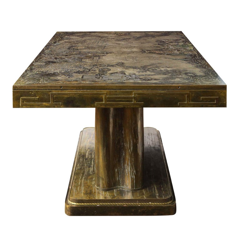 American Philip & Kelvin LaVerne Rare and Important Extension Dining Table 1960s (Signed) For Sale