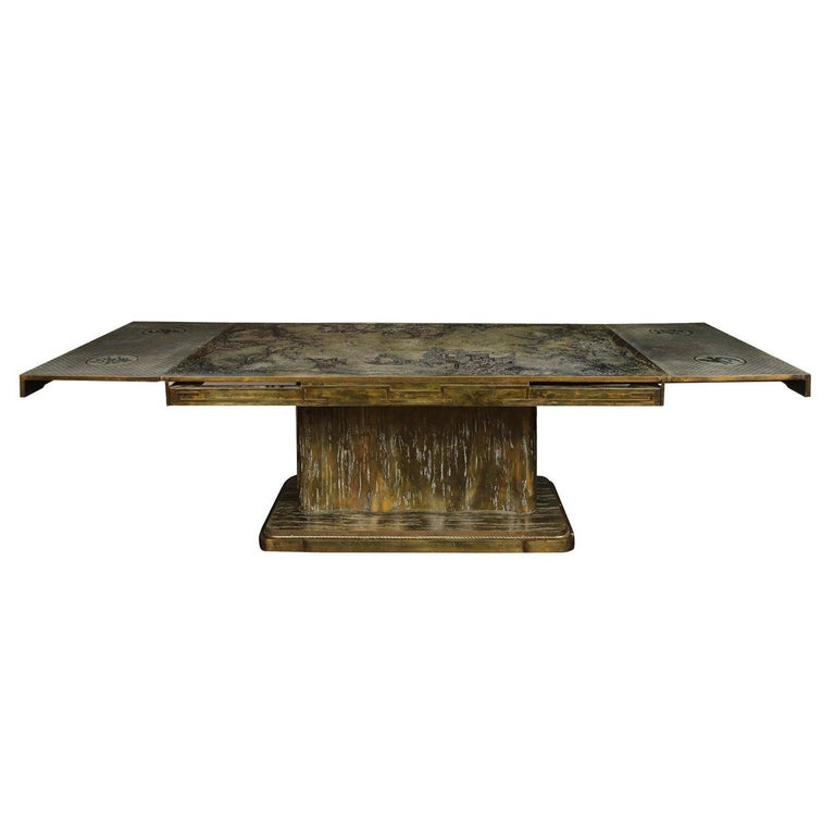 Philip & Kelvin LaVerne Rare and Important Extension Dining Table 1960s (Signed) For Sale