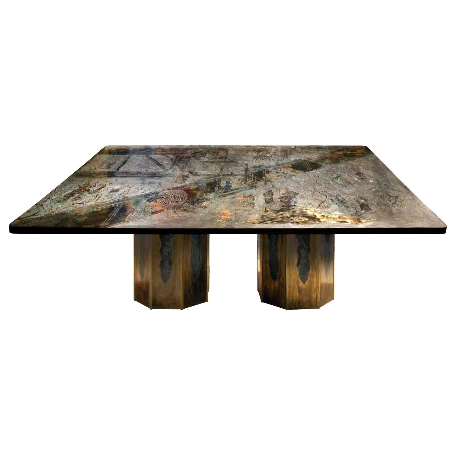 """Philip & Kelvin Laverne Rare """"Chan"""" Dining Table, 1960s 'signed'"""