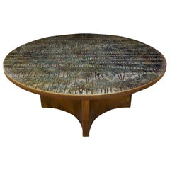 """Philip & Kelvin LaVerne Rare """"Eternal Forest"""" Coffee Table, 1960s 'Signed'"""