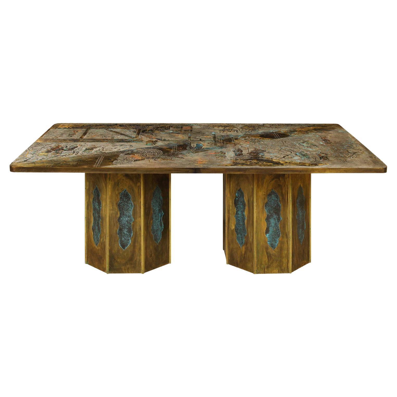 """Philip & Kelvin LaVerne Rare Exceptional """"Chan"""" Dining Table 1960s 'Signed'"""