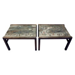 """Philip & Kelvin LaVerne Rare Pair of """"Festival"""" Coffee Tables 1960s 'Signed'"""