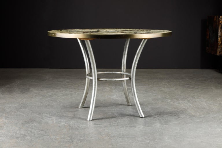 This is a rare example of the Classic and highly sought after 'Chan' cocktail table but in a special form of a game table which can also be used as a center table or cafe / dining table, by father and son team, Philip and Kelvin LaVerne, produced in