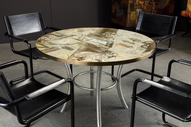 Philip & Kelvin LaVerne Special 'Chan' Bronze Game Table, circa 1965, Signed For Sale 13