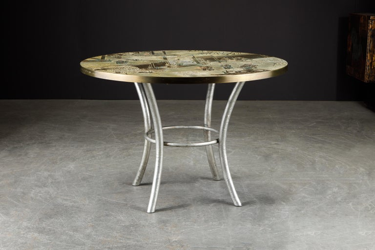 Mid-Century Modern Philip & Kelvin LaVerne Special 'Chan' Bronze Game Table, circa 1965, Signed For Sale