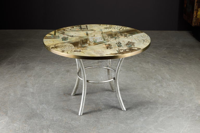 Polychromed Philip & Kelvin LaVerne Special 'Chan' Bronze Game Table, circa 1965, Signed For Sale