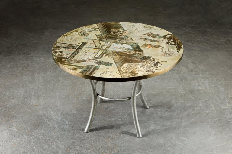 Philip & Kelvin LaVerne Special 'Chan' Bronze Game Table, circa 1965, Signed In Good Condition For Sale In Los Angeles, CA