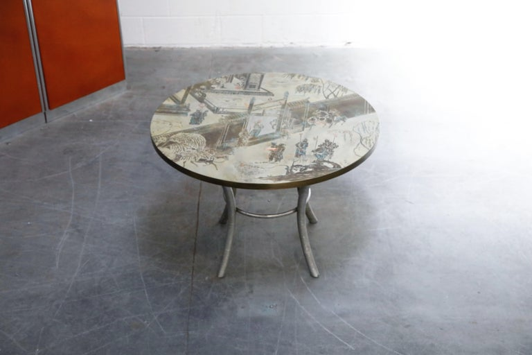 Mid-20th Century Philip & Kelvin LaVerne Special 'Chan' Bronze Game Table, circa 1965, Signed For Sale