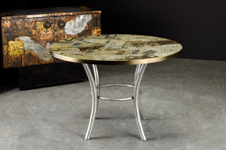 Philip & Kelvin LaVerne Special 'Chan' Bronze Game Table, circa 1965, Signed For Sale 2