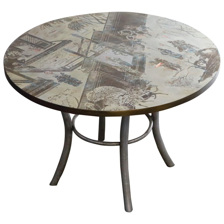Philip & Kelvin LaVerne Special 'Chan' Bronze Game Table, circa 1965, Signed For Sale