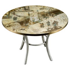 Philip & Kelvin LaVerne Special 'Chan' Bronze Game Table, circa 1965, Signed