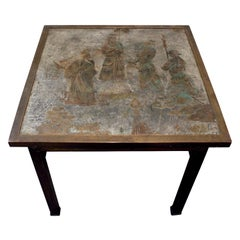 "Philip & Kelvin Laverne Table, ""Ming #131"", in Pewter and Bronze, 1960s 'Signed'"