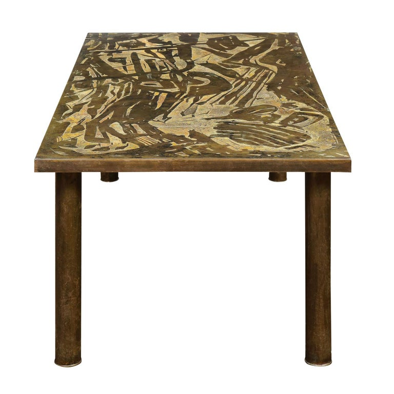 Mid-Century Modern Philip & Kelvin LaVerne Unique Abstract Design Coffee Table 1966 'Signed' For Sale